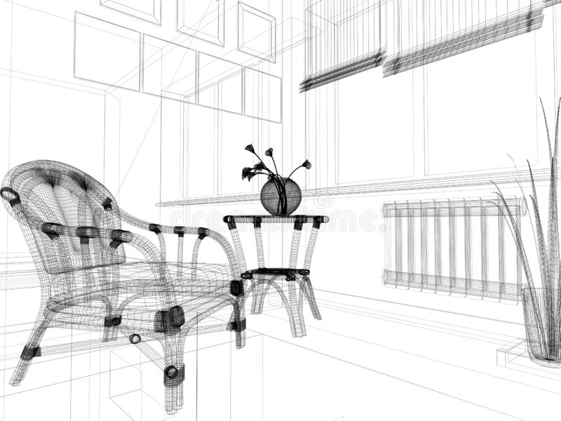 Sofá branco no interior moderno, rendição de 3 d ilustração stock