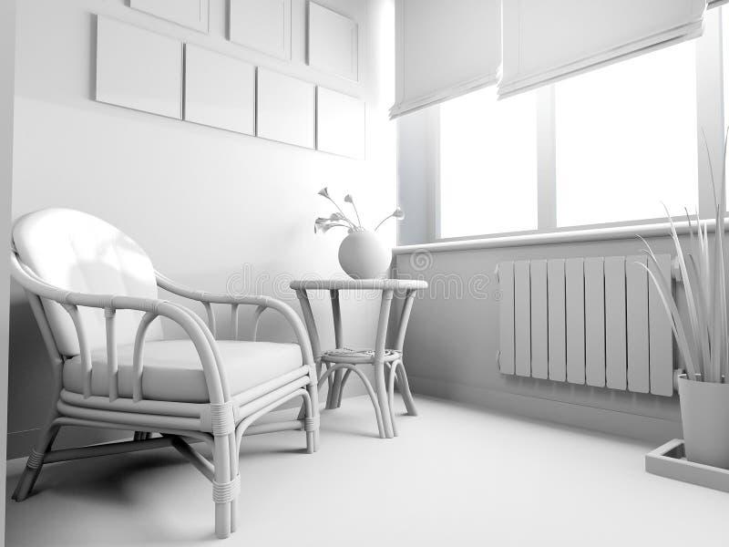 Sofá branco no interior moderno, rendição de 3 d ilustração do vetor