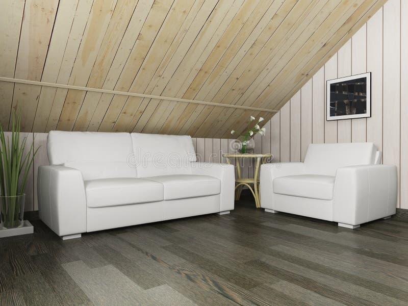Sofá branco no revestimento escuro e na parede de madeira, rendição 3d ilustração do vetor