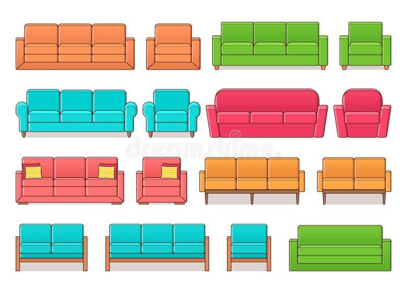 Sofá, butaca, sistema del sofá Ilustración del vector libre illustration