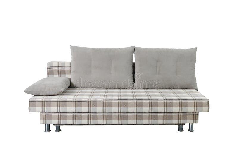 Sofá cinzento da tela isolado em branco com trajeto de grampeamento imagem de stock royalty free