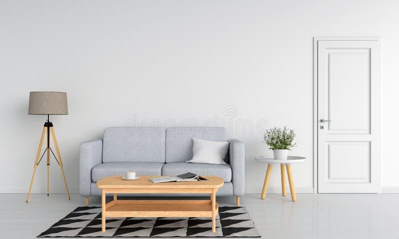 Sofá cinzento e tabela de madeira na sala de visitas branca, rendição 3D ilustração stock