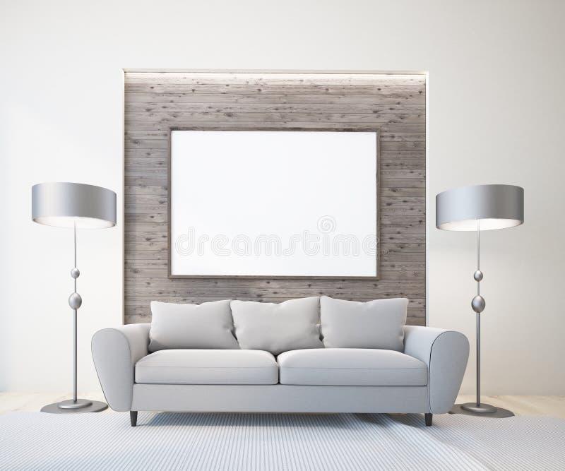 Sofá cinzento na sala de visitas branca e de madeira, lâmpadas ilustração do vetor