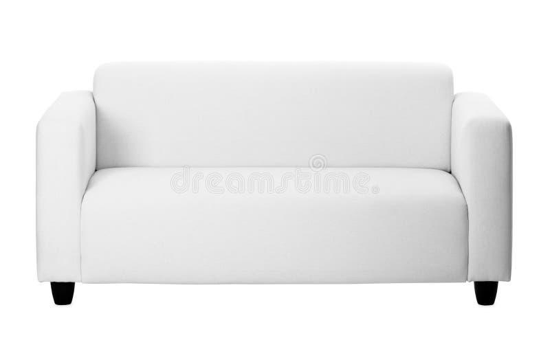 Sofá cinzento ordinário no fundo branco fotos de stock