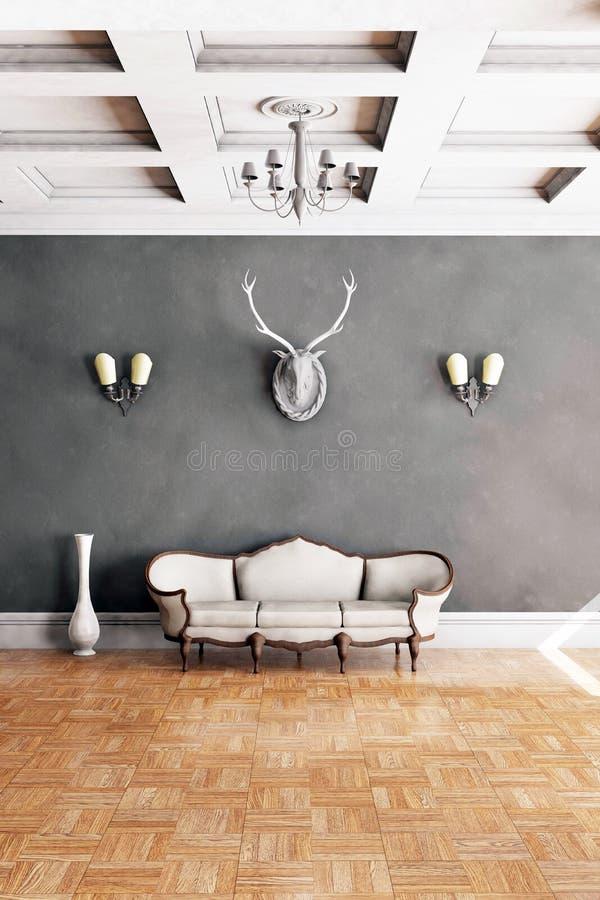 Sofá clássico branco do estilo na sala do vintage ilustração do vetor