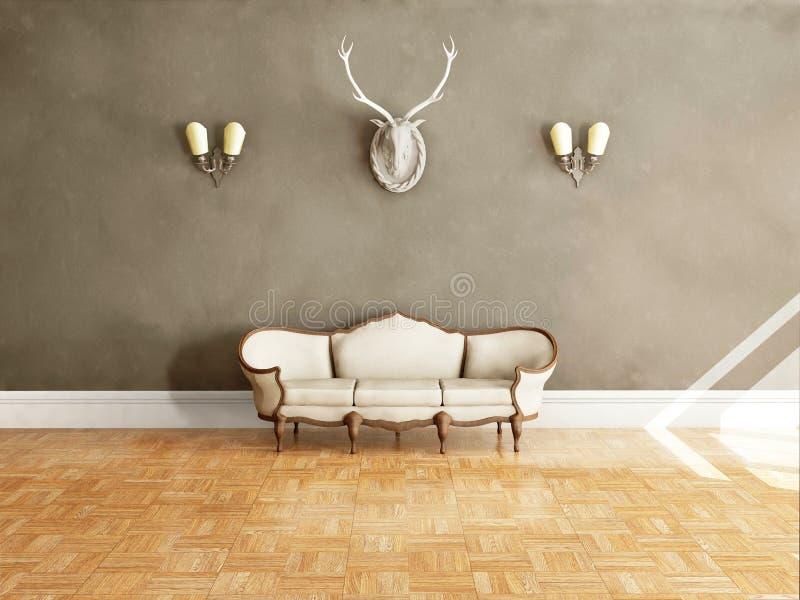 Sofá clássico branco do estilo na sala do vintage ilustração royalty free