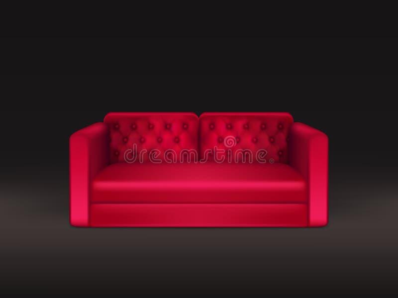 Sofá clássico do vetor realístico de couro vermelho ilustração royalty free