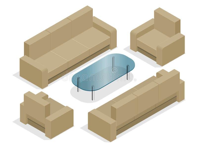 Sofá com as poltronas isoladas no branco Ilustração 3d isométrica lisa ilustração do vetor