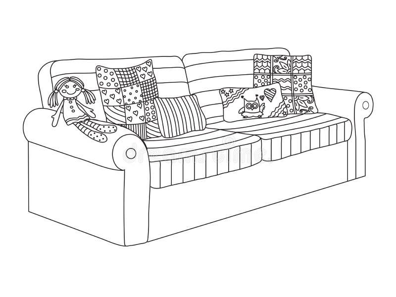 Sofá com coxins Mobília do ` s das crianças ilustração stock
