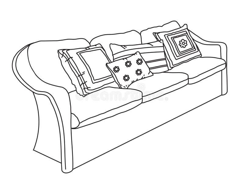Sofá com coxins Silhueta Vetor ilustração do vetor