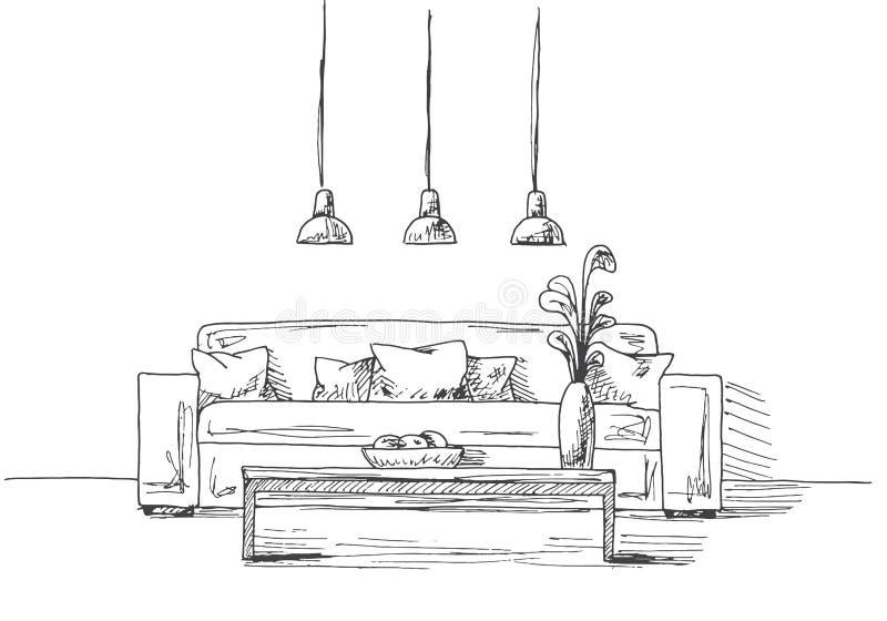 Sofá com descansos, um vaso na tabela Lâmpada três desuspensão sobre a tabela Ilustração desenhada mão do vetor ilustração royalty free