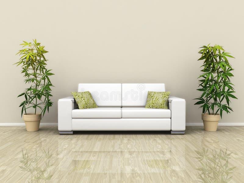 Sofá com plantas ilustração do vetor
