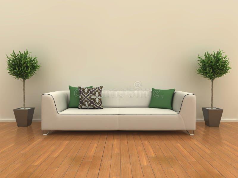 Sofá com plantas ilustração royalty free