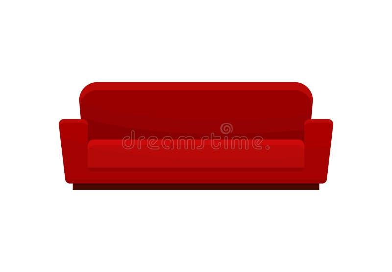 Sofá confortável, sofá moderno vermelho, ilustração do vetor da mobília da sala de visitas em um fundo branco ilustração royalty free