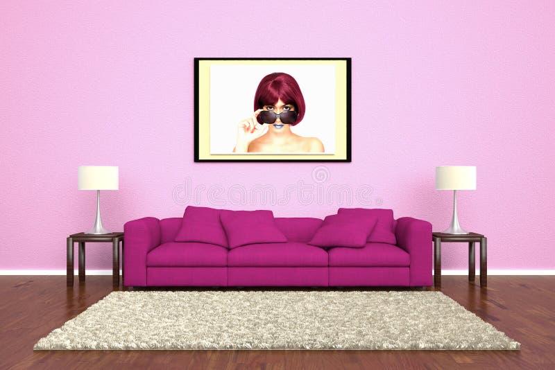 Sofá cor-de-rosa com a imagem unida ilustração royalty free