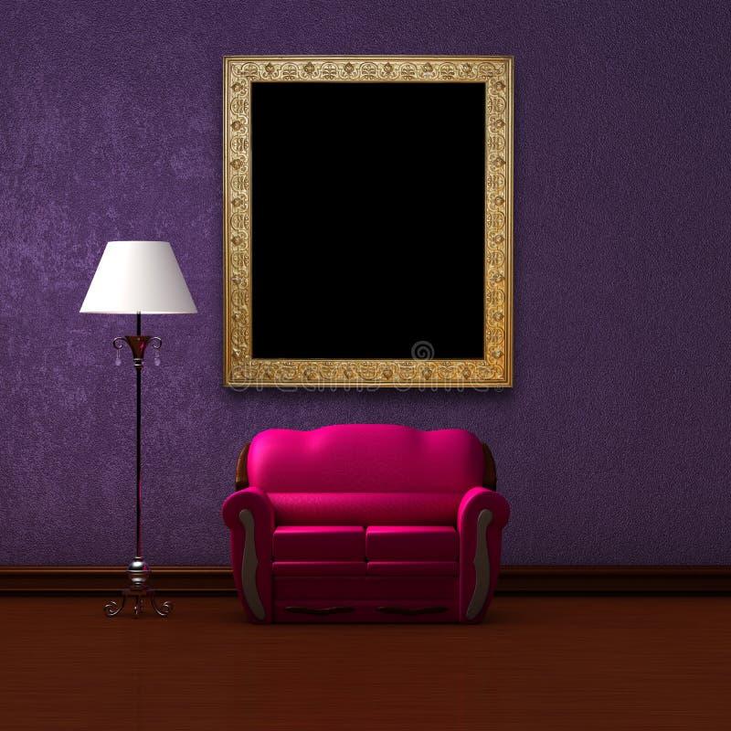 Sofá cor-de-rosa e lâmpada padrão com frame de retrato ilustração royalty free