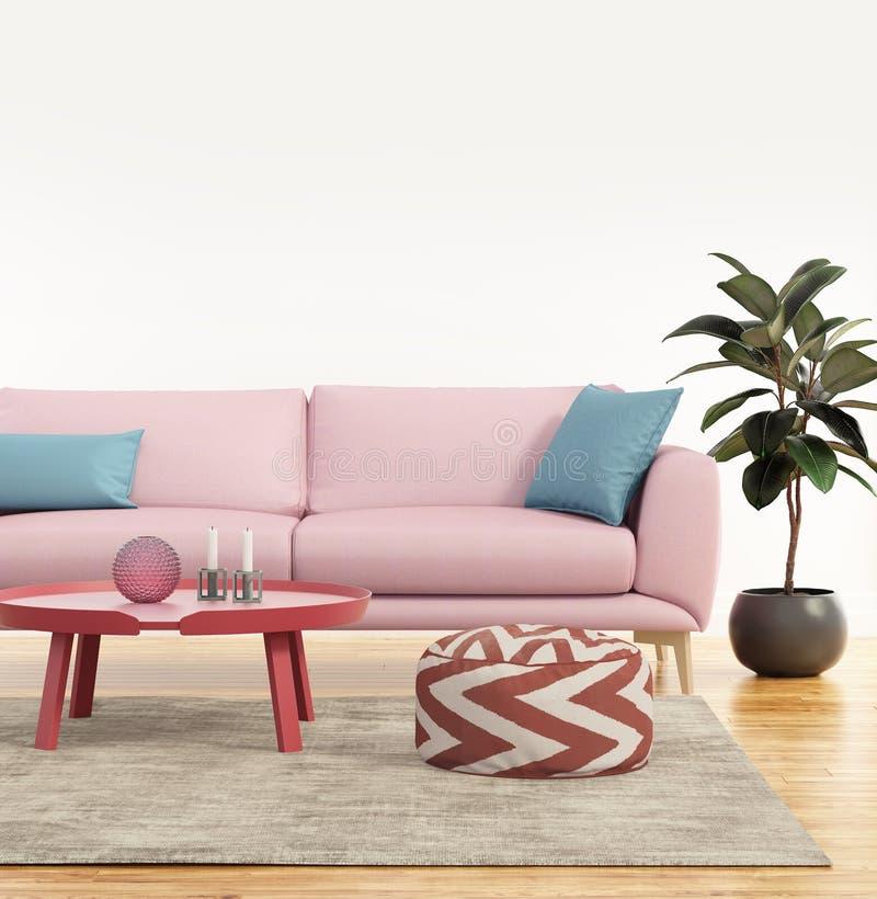 Sofá cor-de-rosa moderno em uma sala de visitas fresca fotos de stock