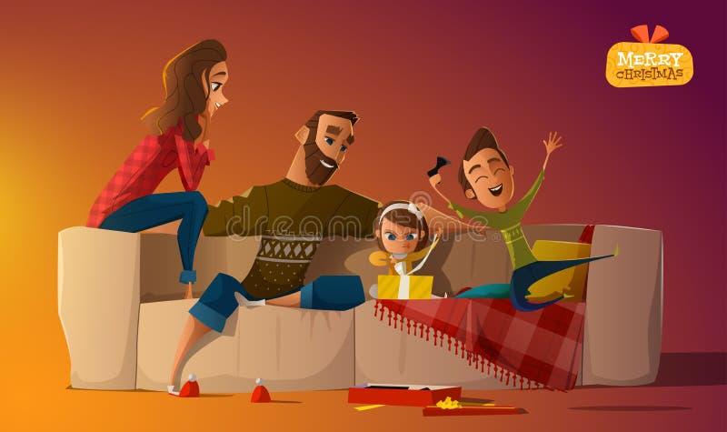 Sofá da família ilustração do vetor