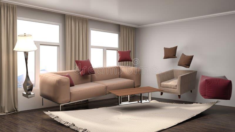Sofá da gravidade zero que paira na sala de visitas ilustração 3D ilustração royalty free