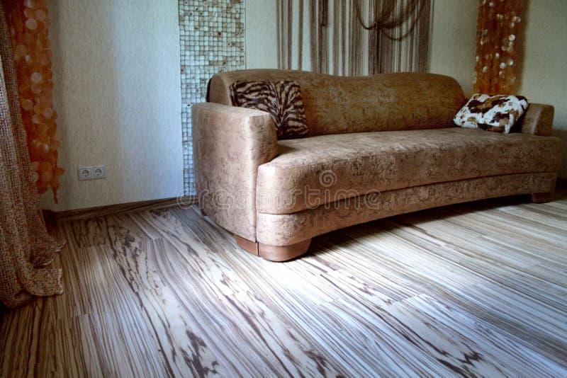 Sofá de Brown e assoalho colorido - Zebrano imagem de stock