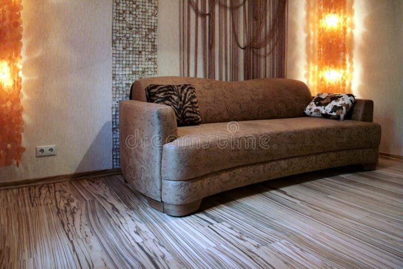 Sofá de Brown e assoalho colorido - Zebrano fotos de stock