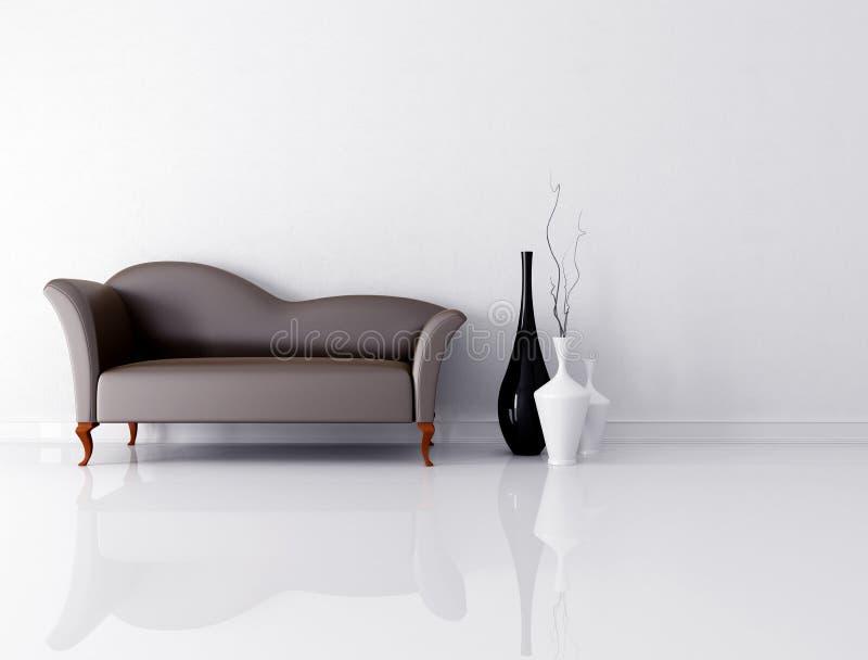 Sofá de Brown em um quarto branco ilustração stock