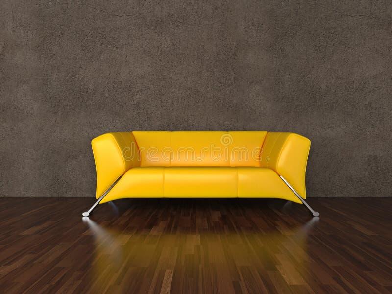 Sofá de couro amarelo ilustração royalty free