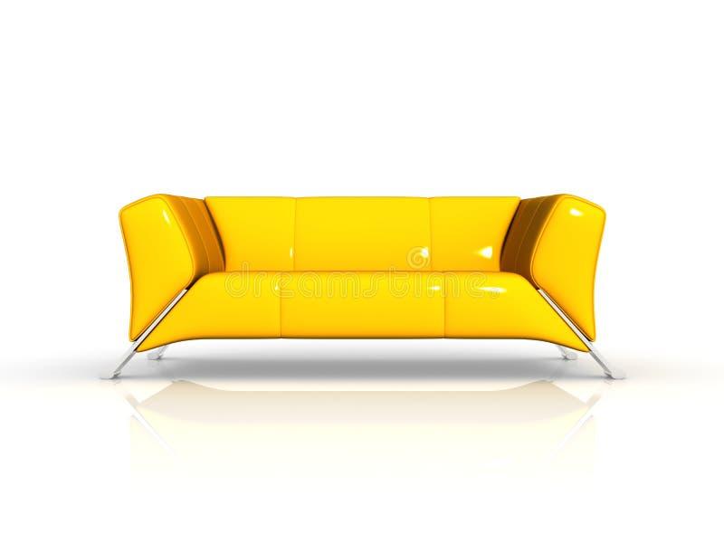 Sofá de couro amarelo ilustração do vetor