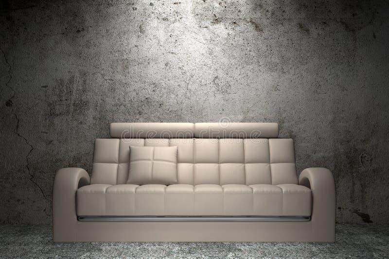 Sofá de couro bege na frente da parede do grunge ilustração do vetor