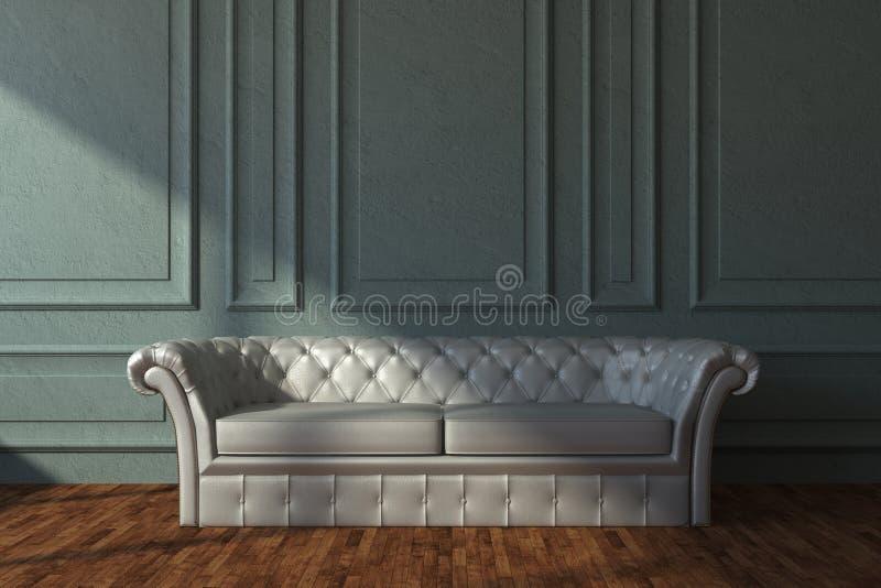 Sofá de couro bege na sala clássica ilustração do vetor