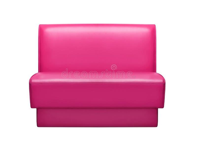 Sofá de couro cor-de-rosa isolado em um fundo branco fotos de stock