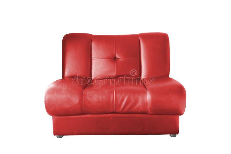 Sofá de couro vermelho imagens de stock