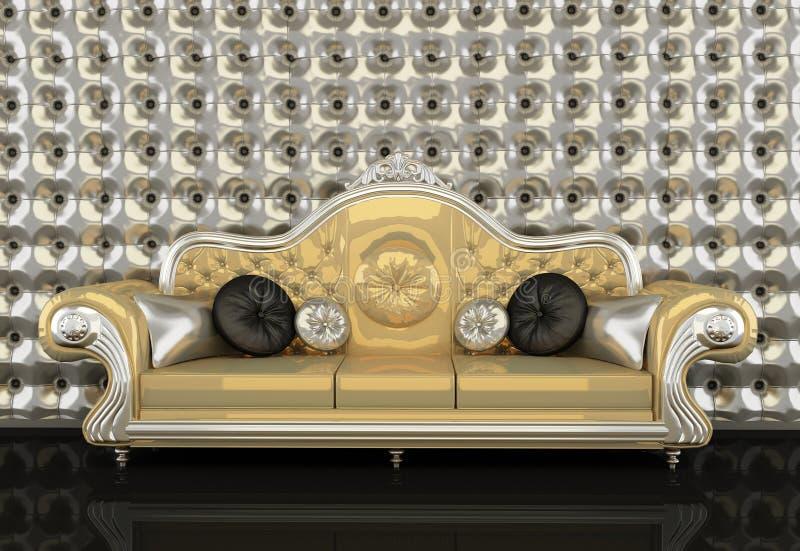 Sofá de cuero con el marco en fondo ilustración del vector