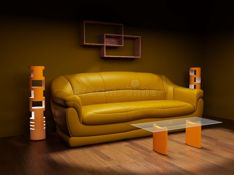 Sofá de cuero en un cuarto oscuro ilustración del vector