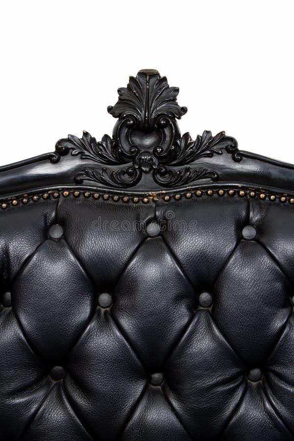 Sofá de cuero negro de lujo fotos de archivo libres de regalías