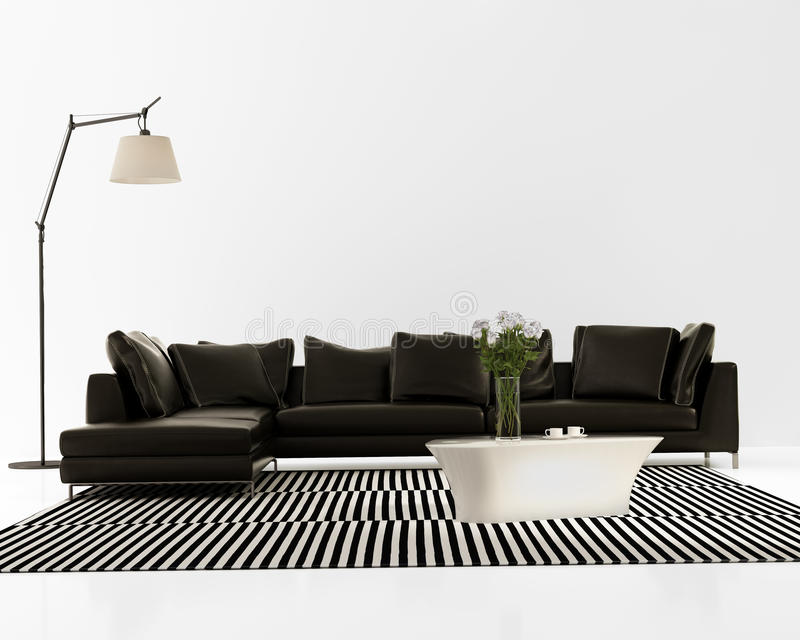 Sofá de cuero negro mínimo contemporáneo imágenes de archivo libres de regalías
