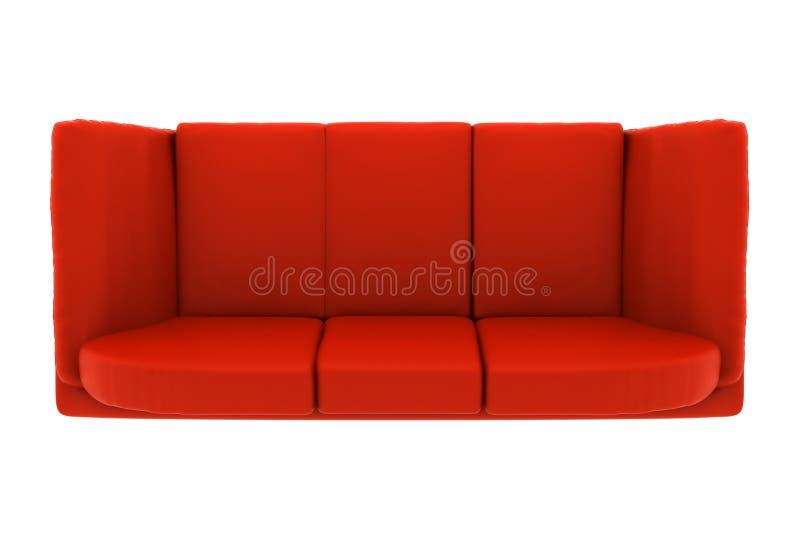 Sofá de cuero rojo aislado en blanco. visión superior stock de ilustración