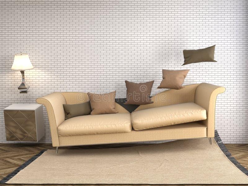 Sofá de la gravedad cero que asoma en sala de estar ilustración 3D ilustración del vector