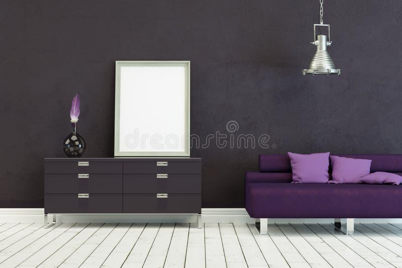 Sofá de Lila no projeto escandinavo moderno com parede cinzenta ilustração do vetor