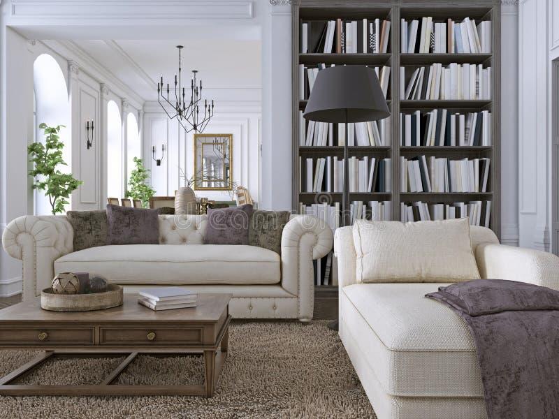 Sofá de lujo en sala de estar clásica con la biblioteca ilustración del vector