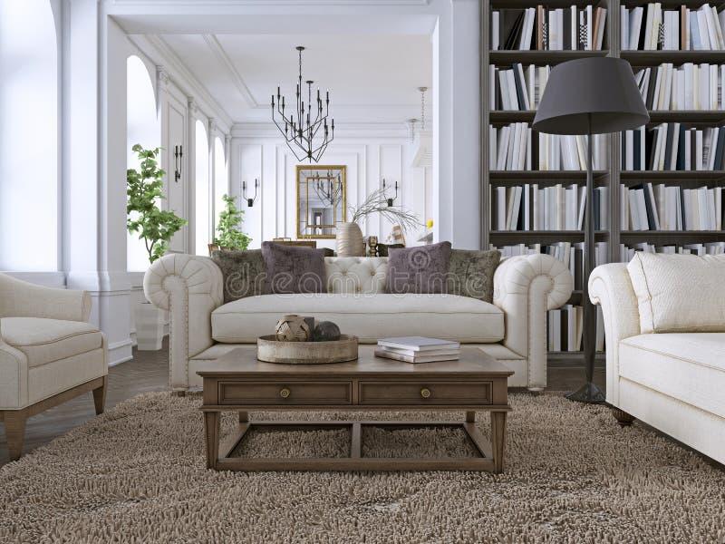 Sofá de lujo en sala de estar clásica con la biblioteca libre illustration
