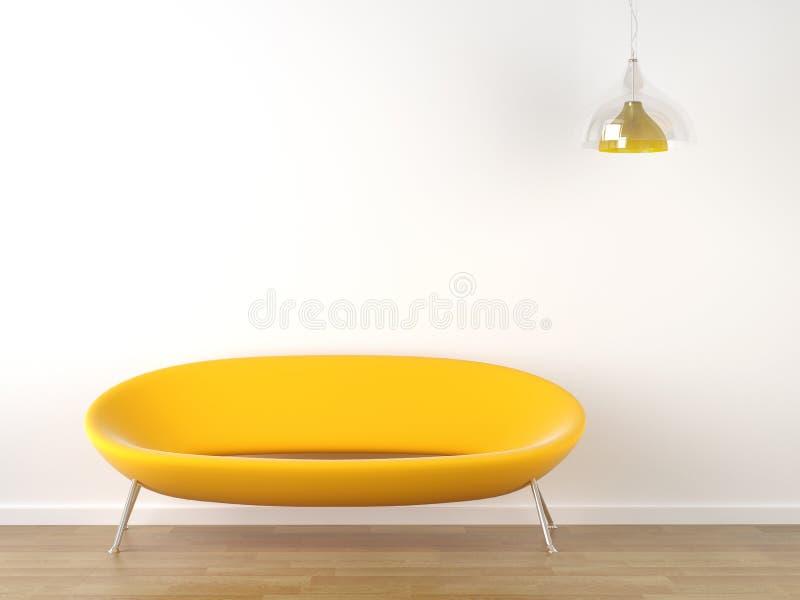 Sofá del amarillo del diseño interior en blanco stock de ilustración