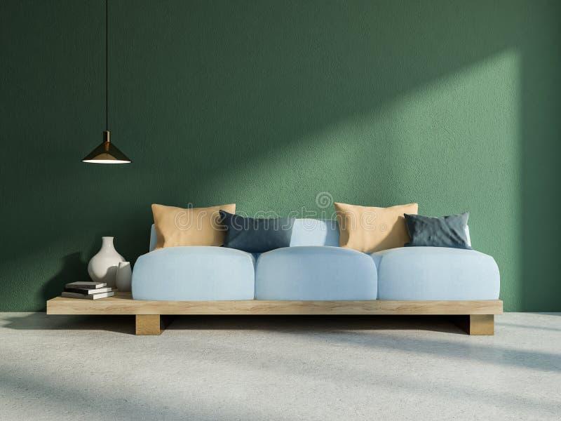 Sofá del estilo japonés en interior verde de la sala de estar ilustración del vector