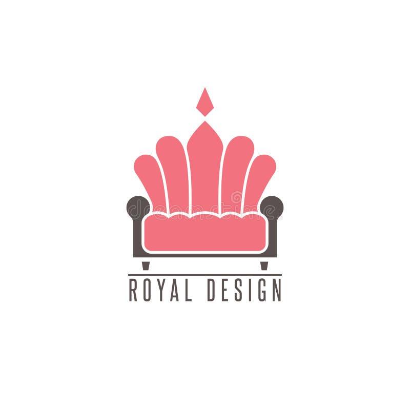 Sofá del logotipo de los muebles, corona creativa de la forma del emblema de la maqueta del diseño interior, icono del diván de l ilustración del vector