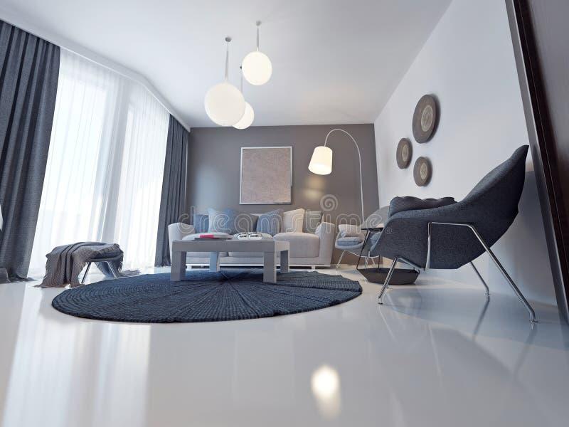 Sofá del tejido en una sala de estar moderna stock de ilustración