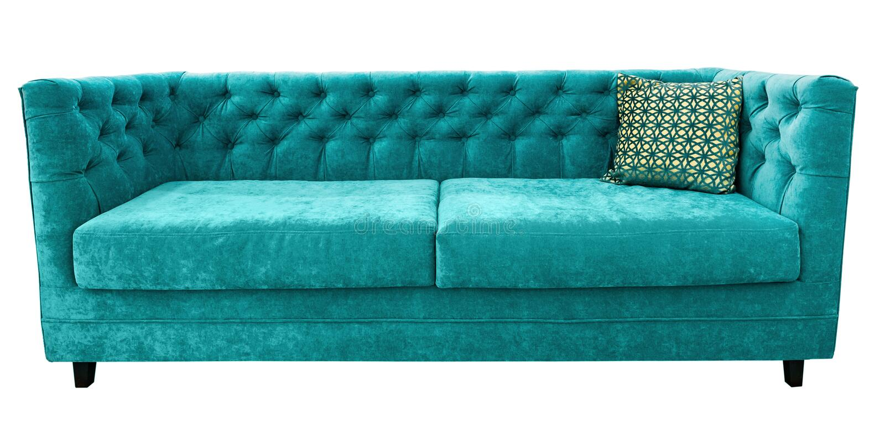 Sofá del velor de la turquesa con la almohada Sofá esmeralda suave Fondo aislado foto de archivo libre de regalías