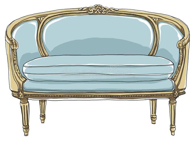 Sofá del vintage que pinta a mano la línea arte del proyecto stock de ilustración
