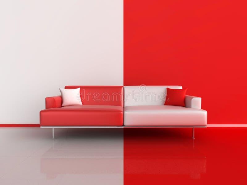 Sofá do contraste do vermelho e do branco ilustração do vetor