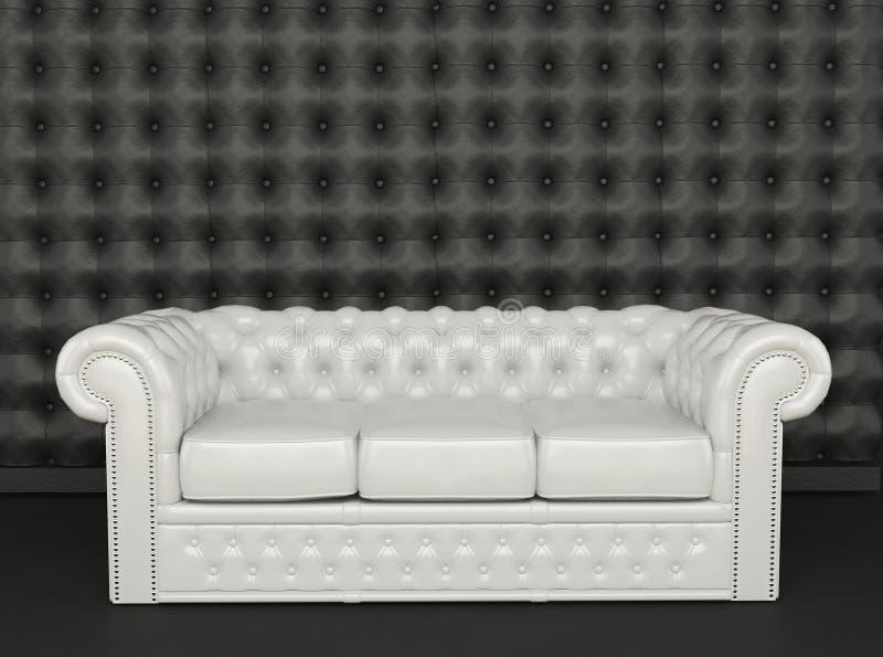 Sofá do couro branco em um fundo preto ilustração royalty free