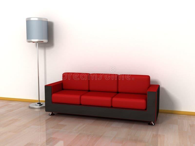 Sofá do sofá e lâmpada de assoalho vermelhos Cosy pela parede ilustração do vetor